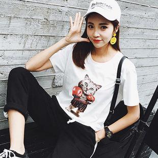 白色短袖T恤女宽松2019夏季韩版字母印花短袖体恤百搭新款ins上衣