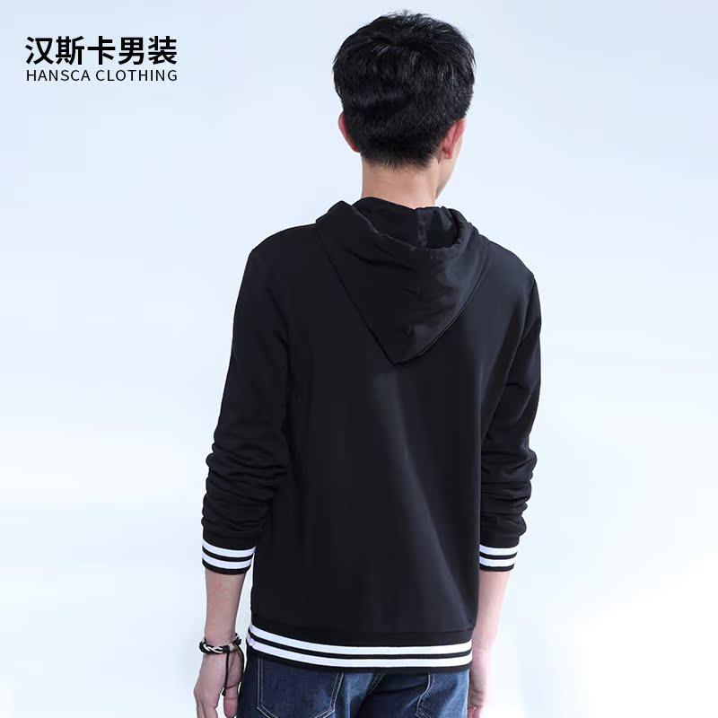 Hanska spring and autumn Korean male hooded hoodies printed black hooded jackets