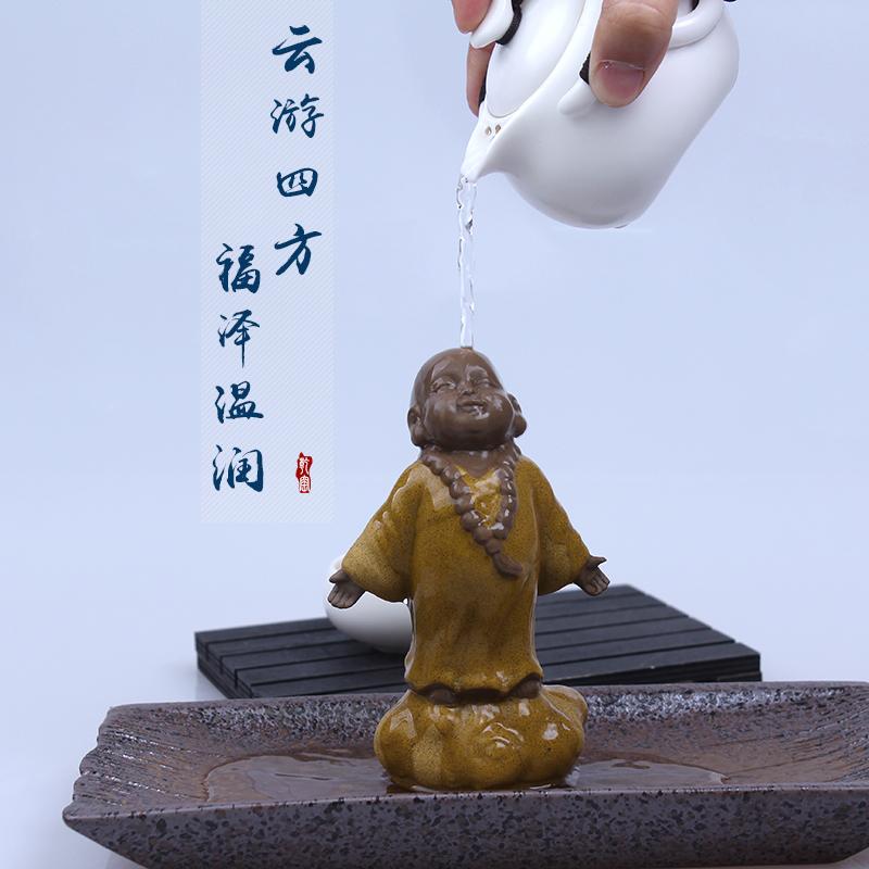 云端小和尚-清瓷精靈云端小和尚云游小沙彌創意精品彩陶陶瓷人物茶寵擺件可刻字