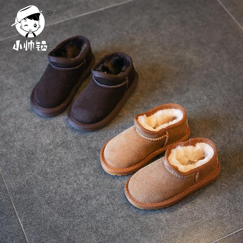 2017新款儿童雪地靴冬季女童短靴男童棉鞋宝宝加绒靴子雪地棉童鞋