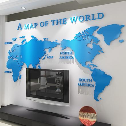 黑色小世界地圖立體墻貼我們結婚吧果然家世界地圖同款亞克力立體墻貼