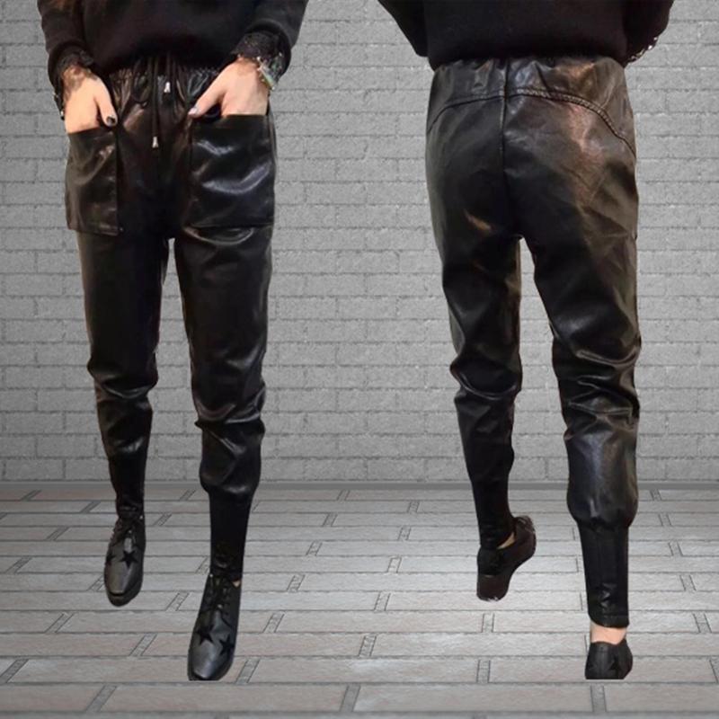 La estación de otoño - invierno Europeo de 2017 la Moda Mujer de cuero Pu Harlan pantalones y pantalones sueltos de Corea de pantalones.