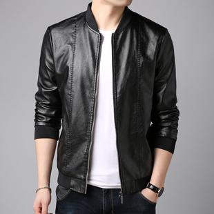 男士皮衣春秋季修身韩版立领皮夹克外套男装帅气青年机车服潮