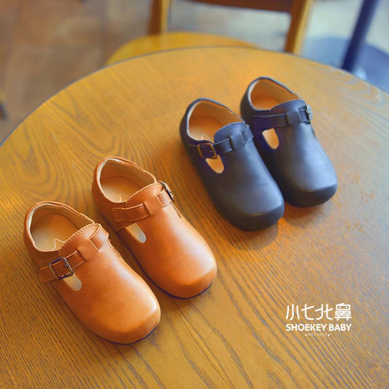 女童皮鞋真皮 儿童单鞋春秋2017新款潮 韩版复古奶奶鞋女孩公主鞋