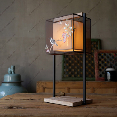 [摆设出品]中式台灯手绘丝灯饰现代中式布艺客厅灯书房台灯卧室灯