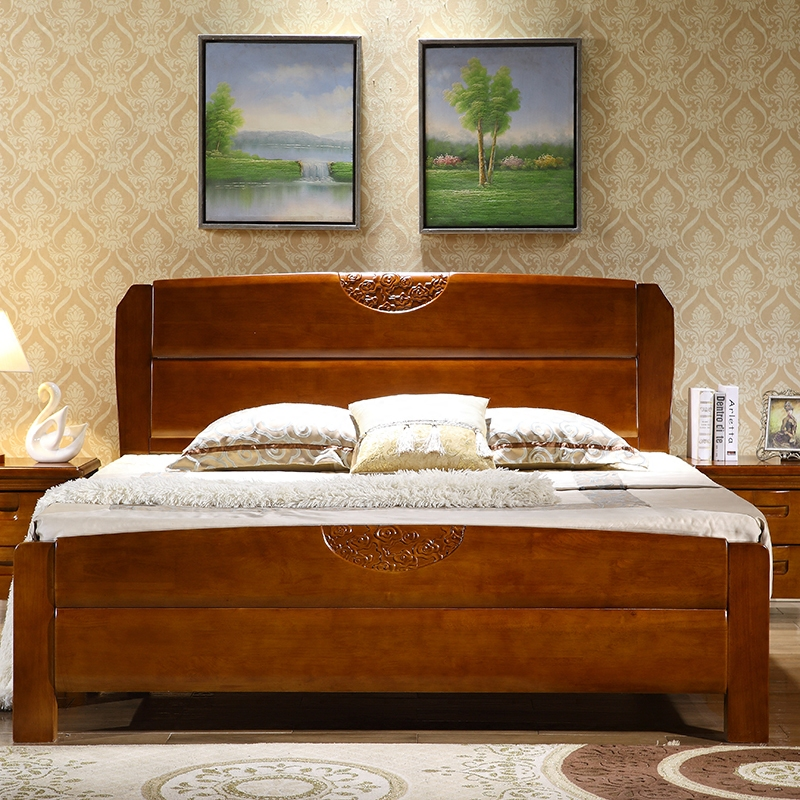 New Chinese solid wood bed, 1.8 meters high box storage oak drawer double bed 1.5M modern minimalist master bedroom furniture