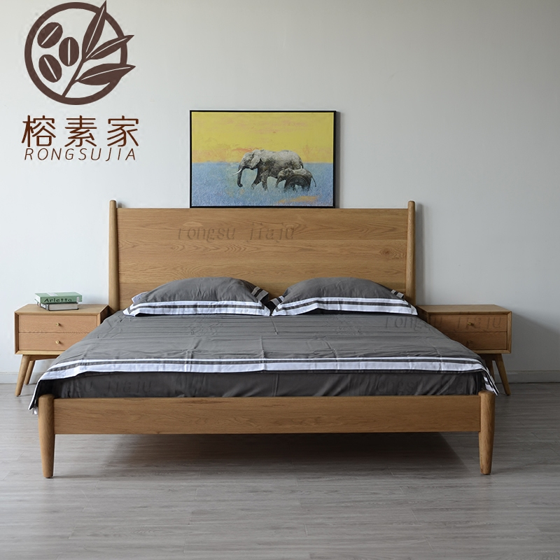 Banyan tree Nordic solid wood bed, 1.8 meters cylindrical bed, white oak bed, custom made solid wood high back bed
