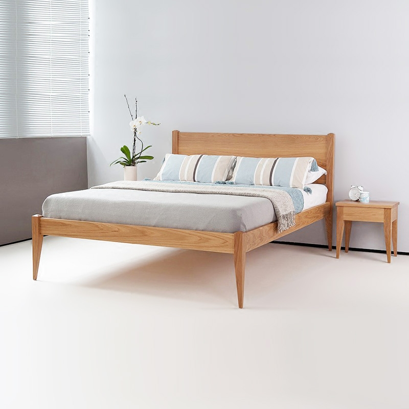 Nordic British bed, white oak, black walnut, all solid wood, modern simple 1.5/1.8 meters pure log double bed