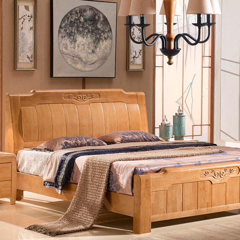 High grade all solid wood bed, 1.8 meters Double Drawer Bed, modern simple high box storage oak bed wedding furniture