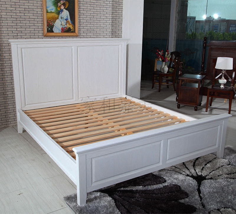 American country wood bed pure wood double bed single bed American real wood bed white wax tablets lying