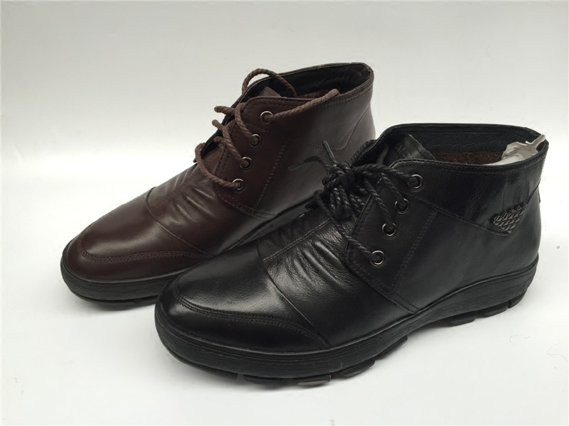 Autumn and winter air male leather men's Shoes Mens Casual leather cashmere round England plus warm male shoes