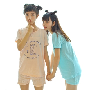 天天特价夏季纯棉短袖短裤睡衣女可爱学生女士圆领套头家居服套装