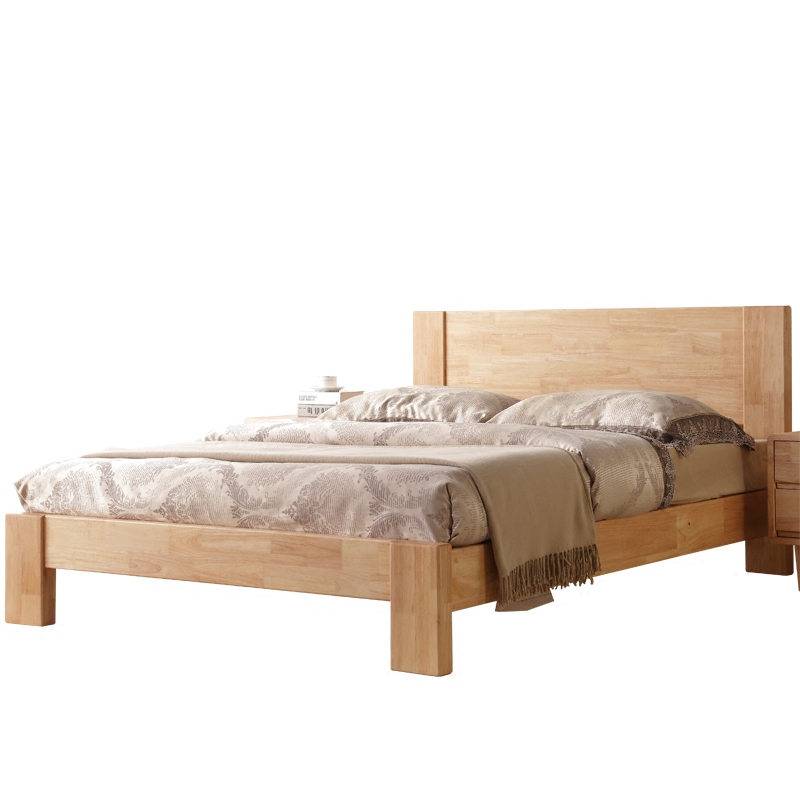 The whole wood bed double 1.8 meters simple modern hard bed rubber wood bedroom furniture bed 8806