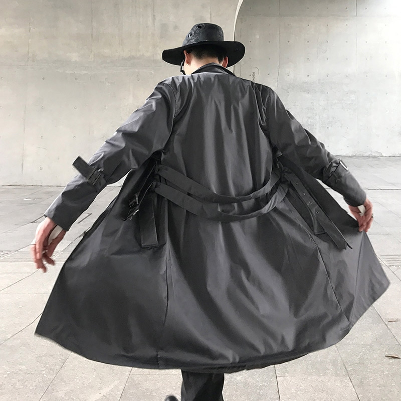 ชาร์ลี UNCLE ต้นฉบับในฤดูใบไม้ร่วงและฤดูหนาวในวรรคสองวรรคยาวปกเสื้อเสื้อแฟชั่นเสื้อคลุมเข็มขัดชายหล่อ