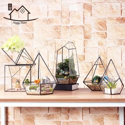 几何玻璃罩花房小摆件 微景观多肉植物永生花瓶器创意饰品工艺盆