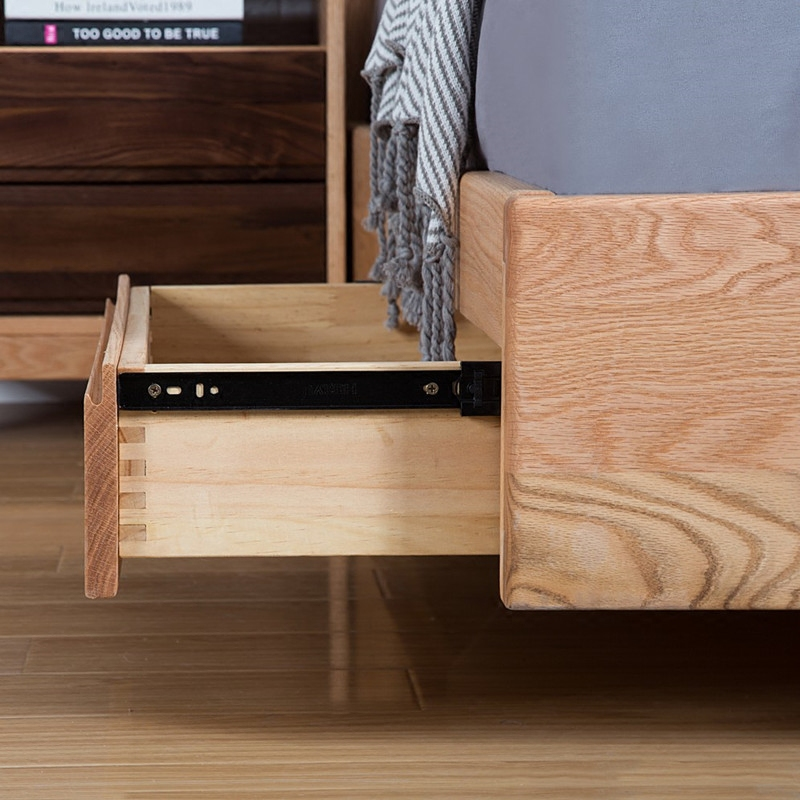 The Japanese oak wood bed drawer box on soft tatami bed pressure storage 1.8 double bedroom