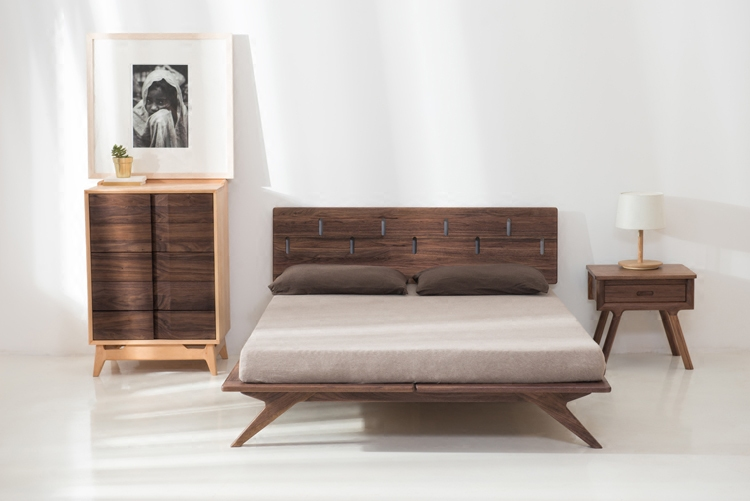 Nordic wood bed black walnut double 1.5m1.8m white oak bed mortise and tenon wood wax rubbed