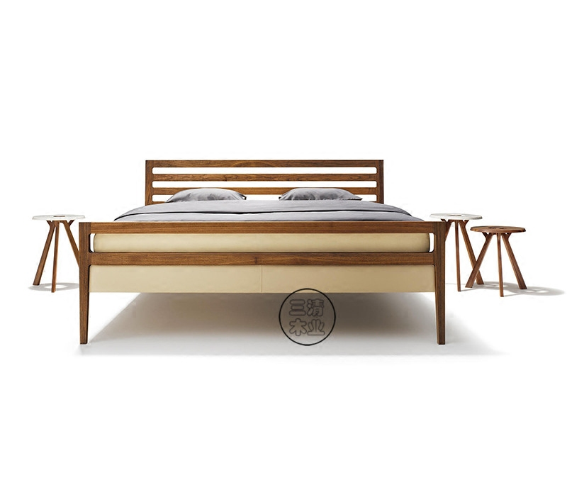 All solid wood modern minimalist oak double bed 1.8 meters North American walnut walnut new Chinese bedroom wedding bed