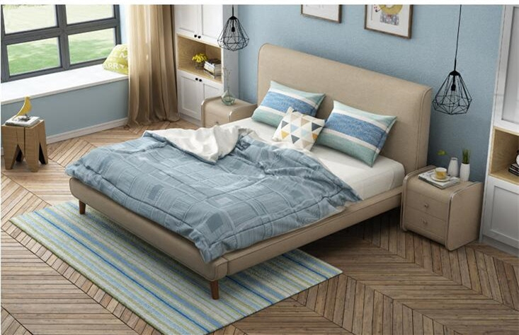 The Nordic modern minimalist washable fabric bed soft bed 1.5m1.8 meters large-sized apartment bed double bed cloth