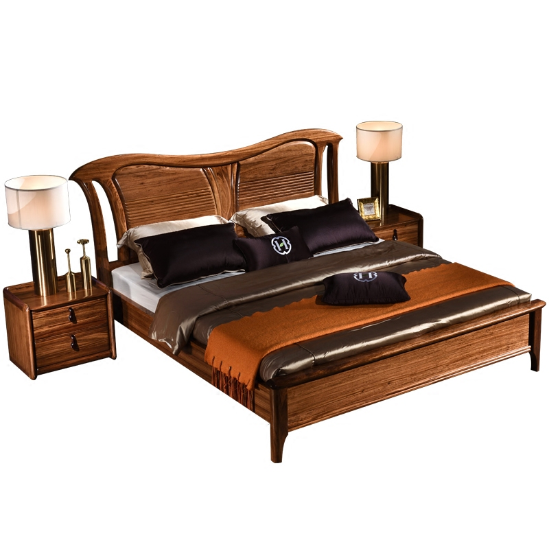 Wujin wooden pure solid wood bed walnut bed simple marriage bed 1.8 meters double bed new Chinese Wujin wooden bed