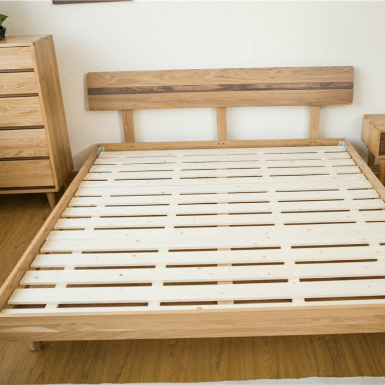 All solid wood bed double bed, 1.8 meters white oak, simple bedroom furniture, 1.5 meters white oak, black walnut