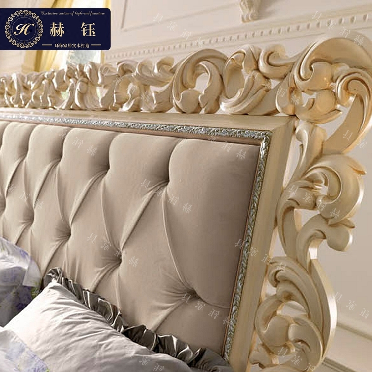 European style Neo Classical Luxury bed bed bed bed around the princess Jane hollow carved wooden bed double bed in Italy