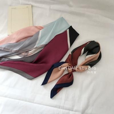 韩国东大门新款四面拼色气质个性拼接小方巾红色蓝色仿真丝小丝巾