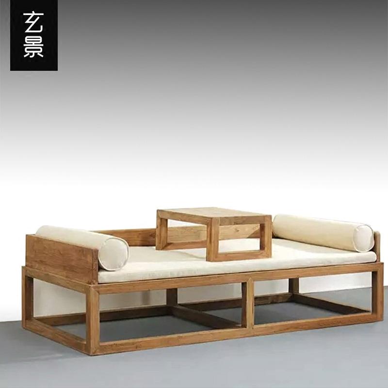楡免漆羅漢ベッド木造ソファベッド禪の教えにも少なからず新中国式の黒くるみ木貴妃寝台グループアンティーク家具