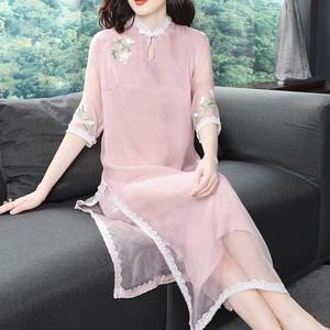 2019新款女装仙女裙长裙中国风复古民族风真丝桑蚕丝旗袍式连衣裙