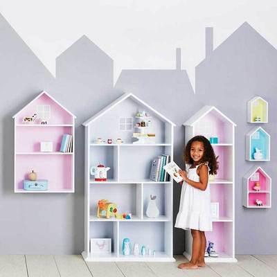 儿童书柜卡通简易书架小学生置物架多层宝宝储物柜欧式小房子书柜