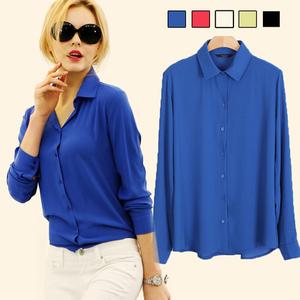 0291#速卖通 ebay热卖雪纺衫女士长袖雪纺衬衫女式休闲衬衣