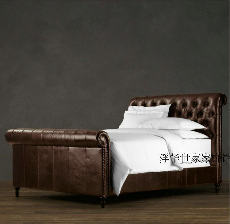 The promotion of French furniture American country RH single all solid wood double bed soft leather on the residential furniture bed