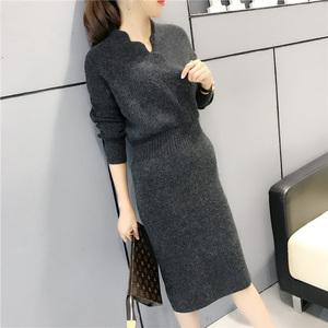 秋冬韩版女装针织衫中长款开叉包臀毛衣连衣裙修身打底衫加厚冬季