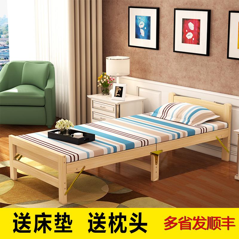 счастье 100 экономического типа кровати из массива древесины сосны взрослых простые деревянные кровати НПД Кровать двуспальная кровать, диван - кровать