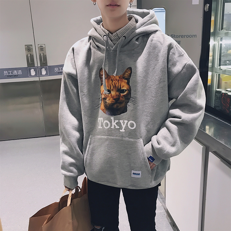 Autumn wind to Hong Kong printing head and cashmere Hoodie men loose Korean Pullover thickened backing tide
