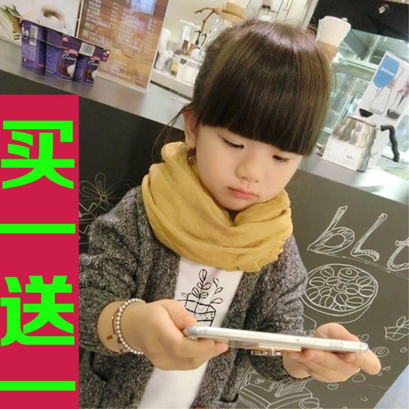 儿童围巾秋冬男童女童围脖新款百搭韩国宝宝纯色棉麻小孩围巾亲子