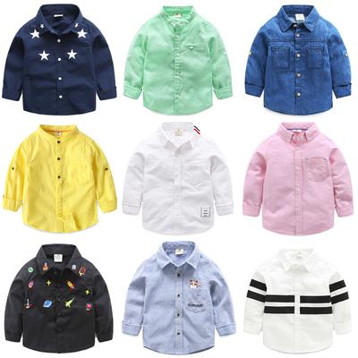 男童长袖衬衫 2018新款童装儿童秋装纯棉上衣 宝宝纯色衬衣休闲装