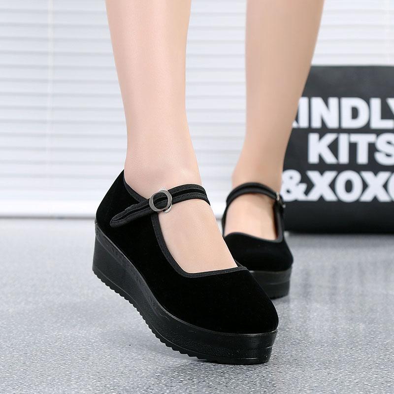 正品松糕厚底老北京布鞋女鞋高跟防滑单鞋工作鞋跳舞鞋坡跟黑布鞋