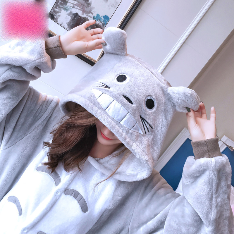 Flannel, black pig, cartoon animals, conjoined pajamas, autumn and winter long sleeve women's home clothing