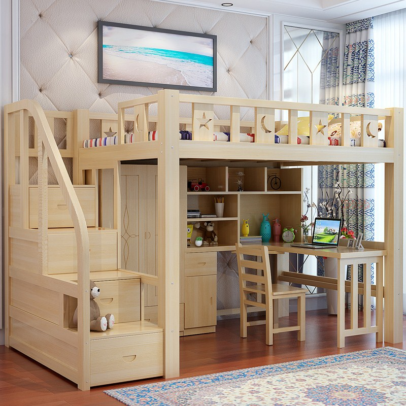 Bed elevated bed, upper and lower beds, adult bed, desk, wardrobe, multi-functional children's solid wood bed, high-low bed and child bed combination