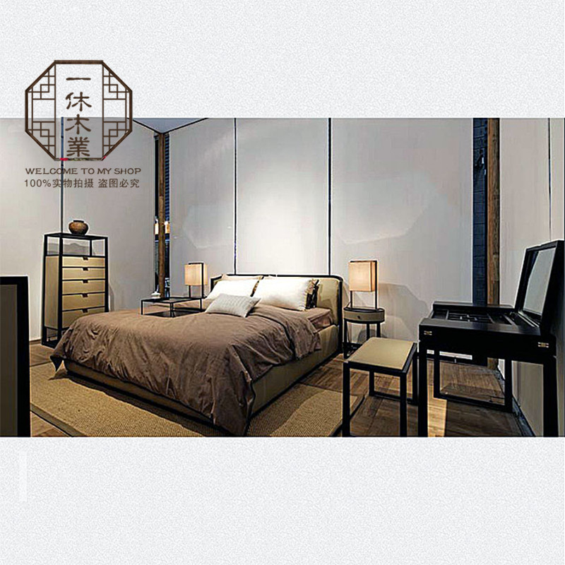 Modern Chinese solid wood bed, 1.8 meters simple bedroom, big bed cloth, wedding bed, ash, new Chinese double bed