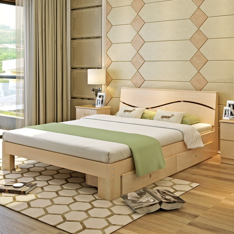 2017 new type solid wood double bed, economical 1.8 master bedroom, modern simple single bed, adult Nordic parcel mail