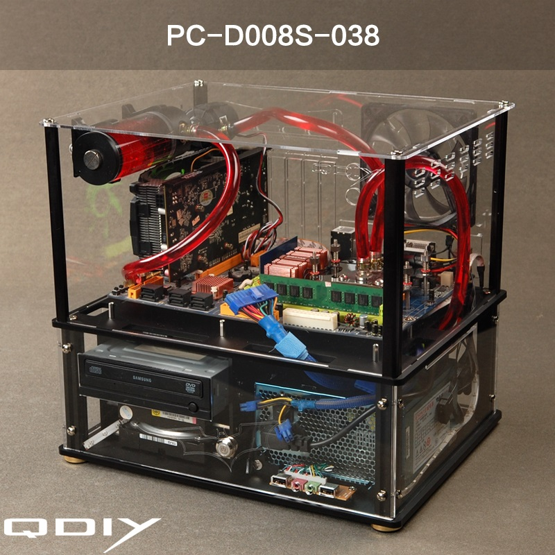 QDIY New Water Cooling Cabinet, Acrylic Transparent Cabinet, Transparent  Water Cooling ATX Fully Enclosed Computer Case
