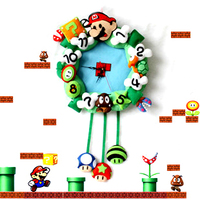 Weaving material package clock manual DIY fabric super Marie Mario clock free cutting is not