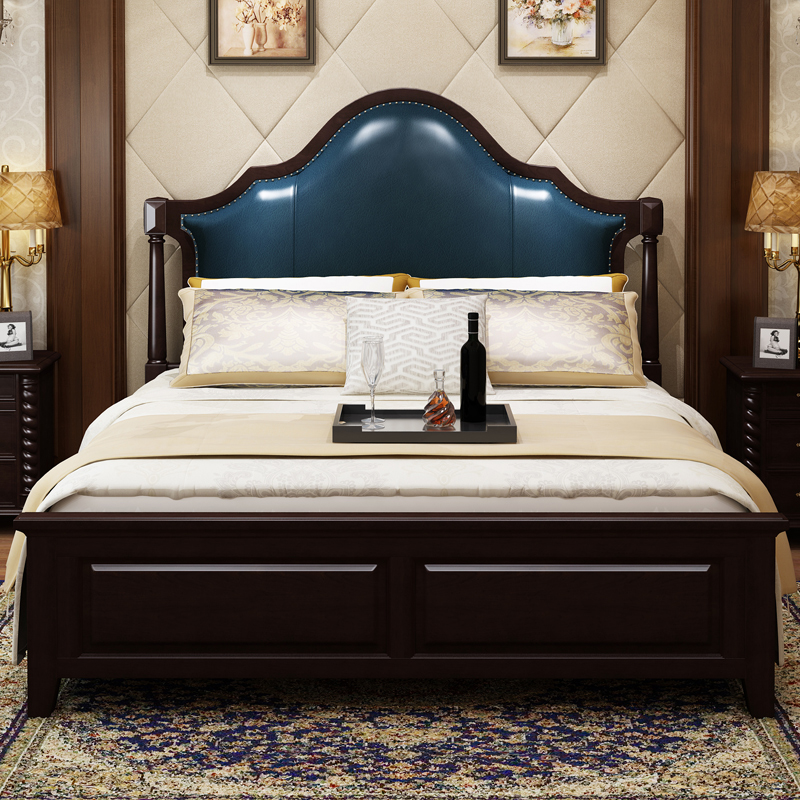 American style bed, all solid wood bed, double bed, American style furniture, simple beautiful wood bed, oak bed, 1.822.2 m bed