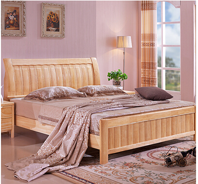 Oak wood bed double bed 1.5 meters 1.8 meters of residential furniture solid wood bed wedding