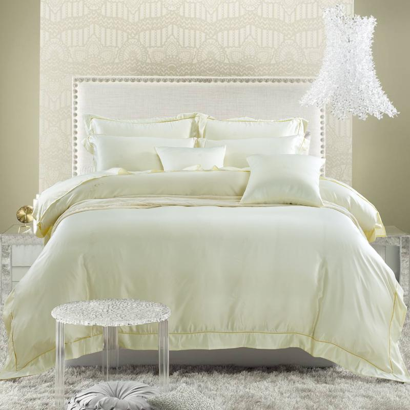 Single color washed silk four piece bedding Tencel satin silk satin European model room bed