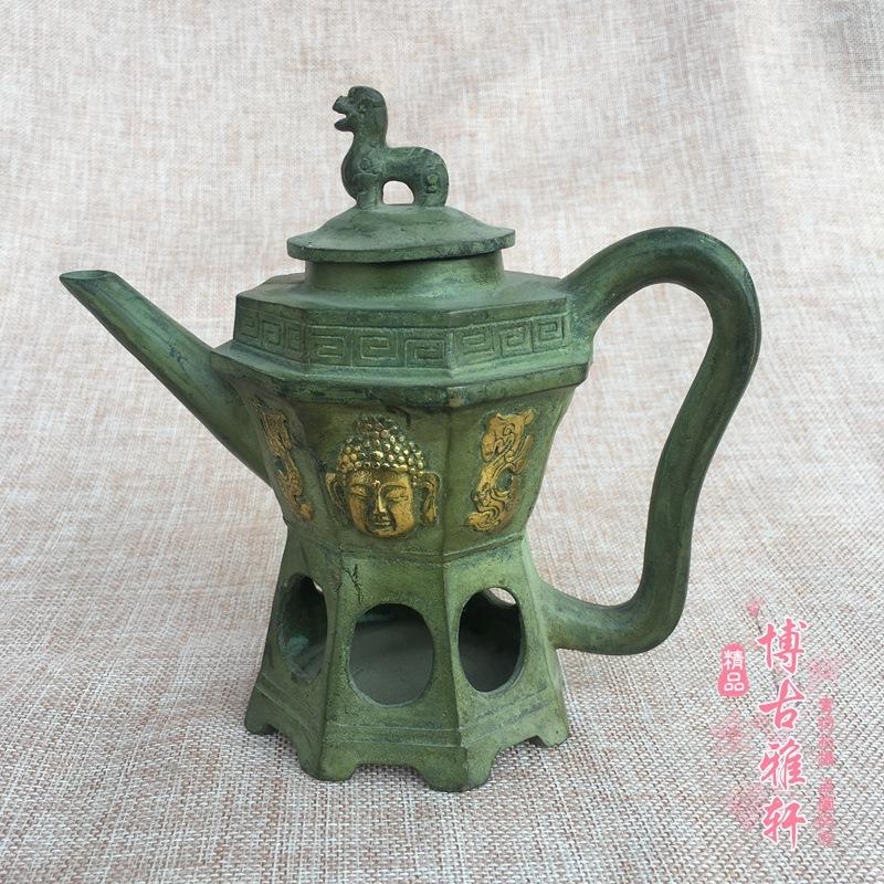 古玩雜項仿古做舊青銅黃銅鎏金招 財貔貅佛頭溫酒壺如來頭像茶壺