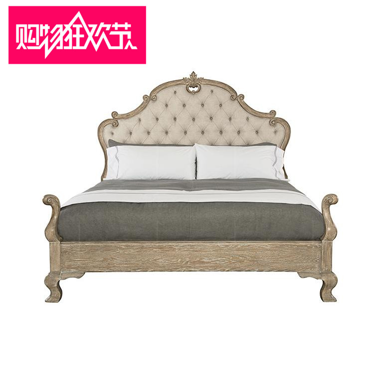 American country wood carved bed 1.8 Double Bed Antique Oak fabric soft bed retro old bed