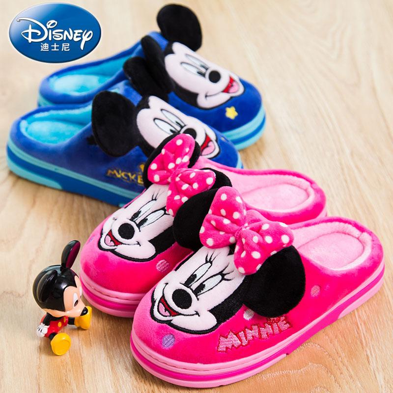迪士尼儿童棉拖鞋亲子一家三口冬季男女童家居家宝宝保暖拖鞋小孩